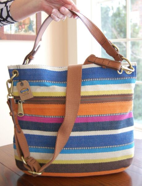 FOSSIL EXPLORER MULTI-COLORED CANVAS SHOULDER CROSS BODY BAG