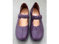 Hotter ladies Shake style shoes. Plum leather. UK Size 7.5. As new, never been worn.