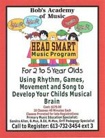 Bob's Music Downtown Pembroke-HeadSmart Music for 2yrs to 5 yrs