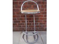 Kitchen breakfast bar stools, 2 of, wood & chrome.