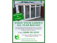 GARDEN ROOM BUILT IN JUST 1-2 DAYS FULLY DOUBLE GLAZED AND INSULATED - FREE SURVEY THROUGHOUT THE UK