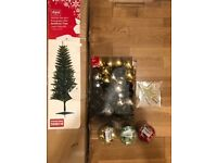 Christmas set - 180cm tree, 120 baubles, Topper