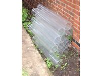 Acrylic tubes, clear, 150mm external diameter, tube 5mm thick . 11x various lengths