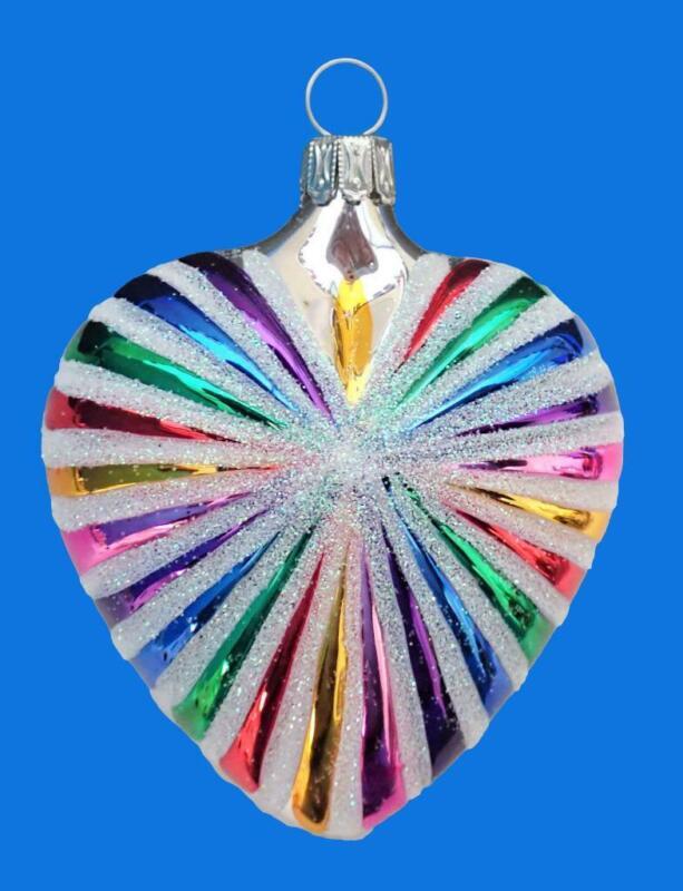 SILVER RAINBOW HEART GERMAN BLOWN GLASS MERRY CHRISTMAS TREE ORNAMENT