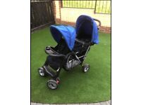 Double pushchair/stroller excellent condition, raincover, 2 food trays