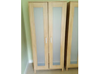 Freestanding wardrobe - Ikea Aneboda - Oak with frosted front