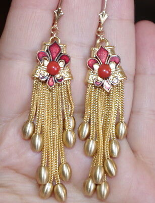 ANTIQUE 14K RED BLOOD CORAL & 14K GF FLEUR DE LIS TASSEL EVER BACK EARRINGS