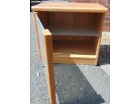 glass fronted pine colour bedside cabinet