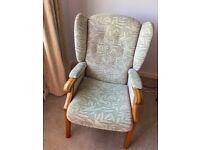 Fireside winged armchair for elderly