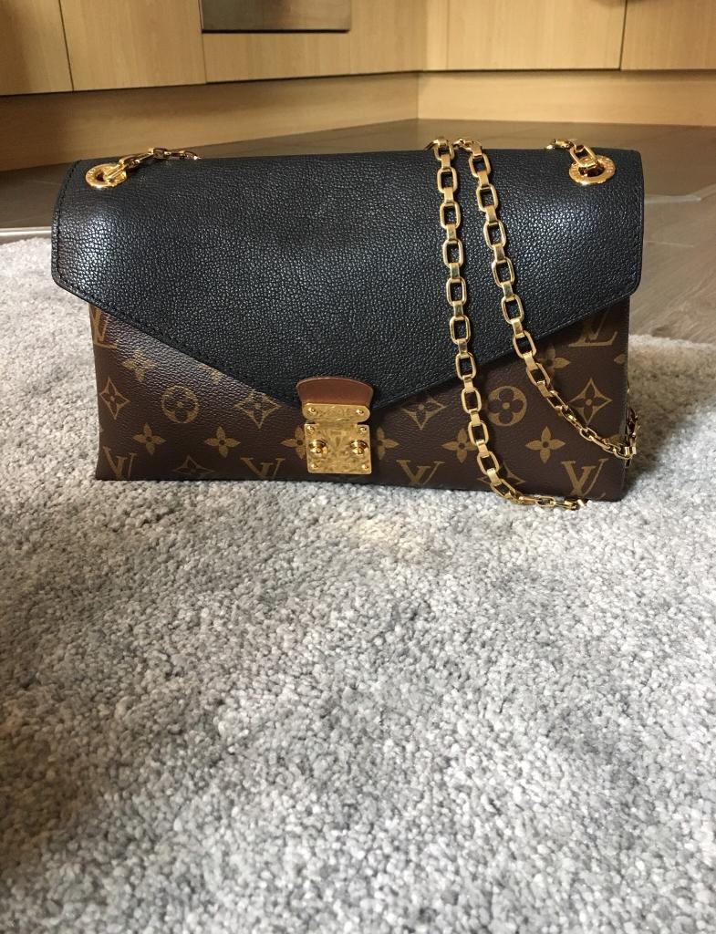 ca4f1dc6facd Louis Vuitton Pallas Chain Monogram Black Calf Leather