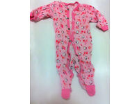 Pink baby jumpsuit with kittens - 0-4 months