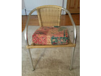 Natural Wicker Arm Chair with Aluminum Frame and Cushion