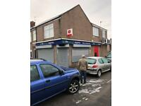 SHOP TO RENT WITH POST OFFICE IN DENSLEY POPULATED AREA IN NEWCASTLE WITH 2 BEDRROM FLAT ABOVE