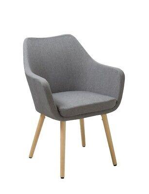 Polsterstuhl Esszimmerstuhl Stoff Leinen grau Armlehnstuhl Beine aus Holz - Stuhl Aus Holz