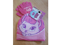 57710176857 Disney Palace Pets Pink Kitty Cat Blondie Winter Hat   Gloves Accessory Set  ...