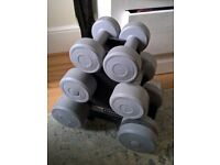 Set of 6 dumbbell weights inc stand - 1.1, 2.3, 4.5