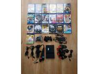 Sony PlayStation 2 PS2 slim & games & buzz & microphones