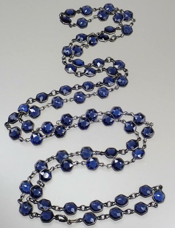 Wow Antique Victorian Sterling Silver Bezel Set Blue Hexagon Paste Bead Necklace