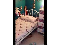 Single Metal Bed Frame. With hearts on.