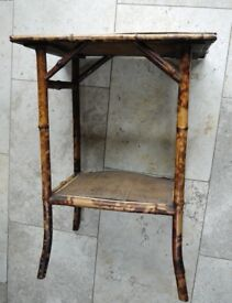 SHABBY CHIC SIDE TABLE / PLANT STAND. Antique Specimen Bamboo Occasional / Side Table Original