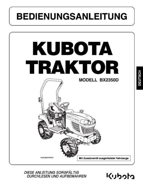 KUBOTA Werkstatthandbuch, Bedienungsanleitung, Ersatzteillisten in ...