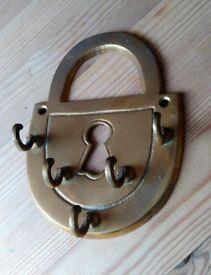 Vintage Brass Padlock Shaped Key Hooks Plaque/Sign