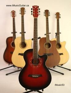 Red Acoustic guitar with free capo and strap iMusic53 brand new 39 inch for beginners