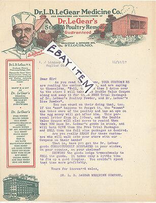 1917 St Louis Missouri DR LD LeGEAR VETERINARY MEDICINE Livestock Remedy LETTER