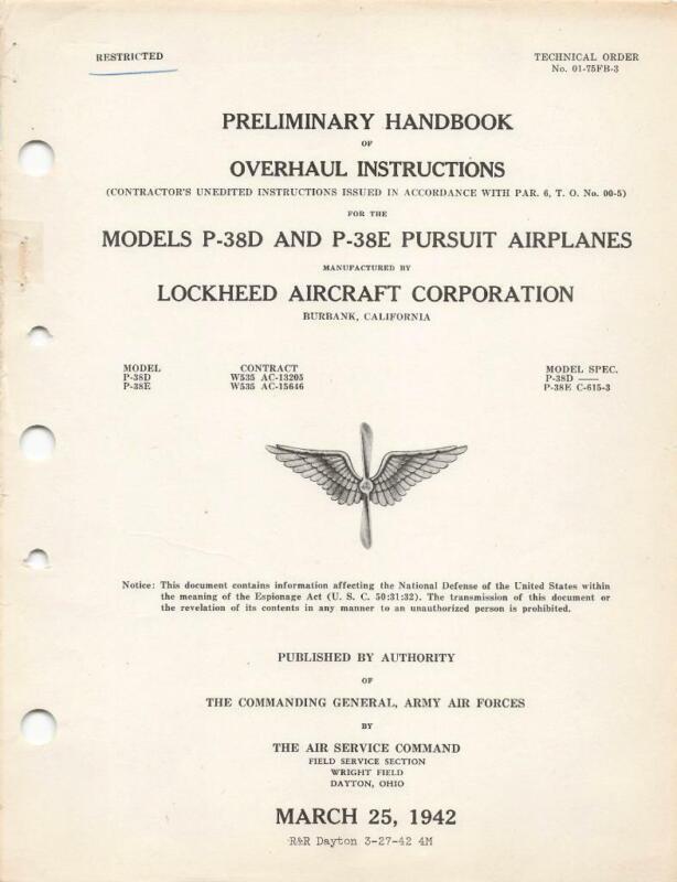 1942 AAF P-38D,E LIGHTNING OVERHAUL PILOT FLIGHT MANUAL AIRCRAFT HANDBOOK-CD
