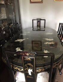 Grand Black Lacquer Mother Of Pearl Chinese Dining Table And Six Chairs.