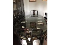 Black Mother Of Pearl Chinese/Oriental/Asian Dining Table With Chairs.