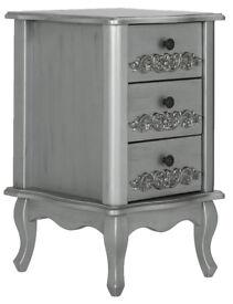 Sophia 3 Drawer Bedside - Silver