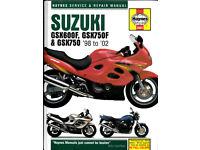 HAYNES SUZUKI SERVICE & REPAIR MANUAL GSX600F GSX750F & GSX750 1998 - 2002