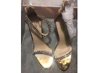 Rose Gold Metallic Stilletoe Diamanté Shoes