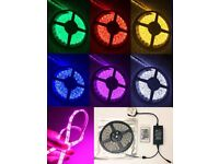 5m LED Flexible RGB Strip Light DC12v 5050 SMD 300 Waterproof Remote + Adapter