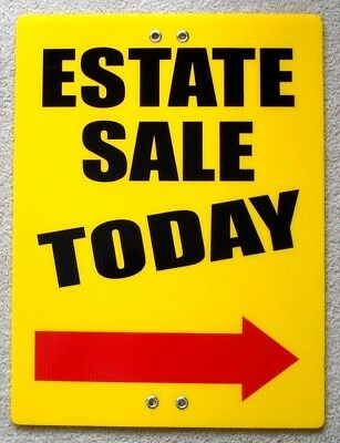 Estate Sale Today Arrow Right 18x24 Coroplast Sign Tie To Tree Pole Post Fence Y