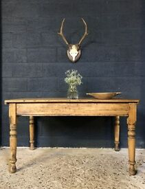 Victorian Antique Country Farmhouse Kitchen Dining Table
