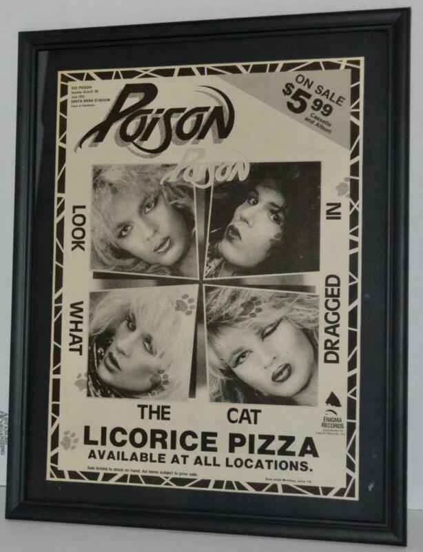 POISON 1986 LOOK WHAT THE CAT DRAGGED IN LP FRAMED PROMOTIONAL POSTER / AD