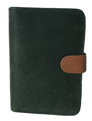 Nwot File System Green Pebbled Leather Planner Organizer 6-ring Binder Small