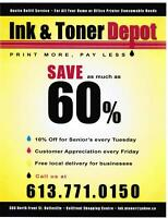 Save as much as 60% on printer cartridges