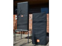 Pair of High Powered JBL SRX725 PA Speakers (with padded covers)