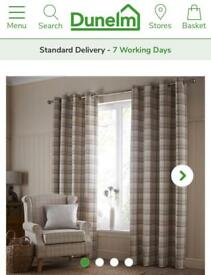 SOLD Plum balmoral check curtains