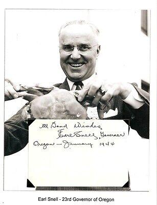 Earl Snell Autograph Oregon Secretary State Governor House Representatives  2