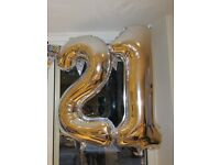 Large silver 21st birthday helium balloons
