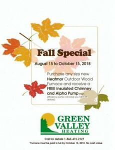 FALL SPECIAL****Green Valley Heating - Heatmor Outdoor Furnace (Outdoor boiler)- ******FALL SPECIAL