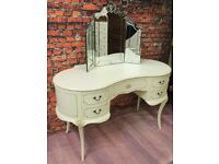 Ornate French Vintage Shabby Chic Solid Wood Kidney Dressing Table.