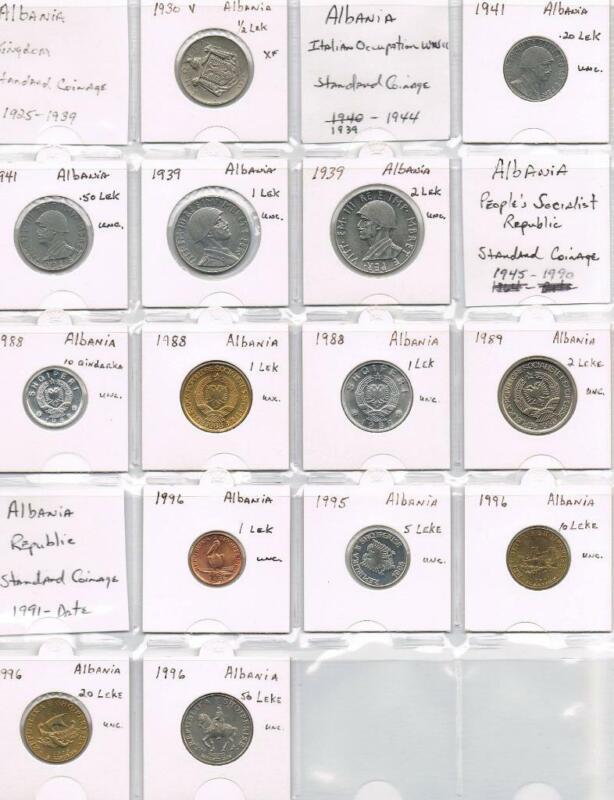 WORLD COINS - ALBANIA 14 COINS 1930 THRU 1996 (13 UNC & 1 XF) - SEE PHOTO