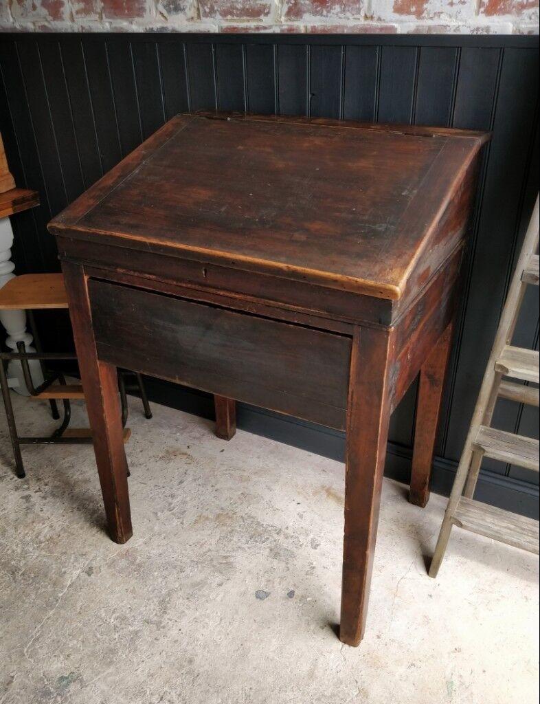 Antique wooden vintage desk, teachers desk, restaurant desk, reception desk,  front of - Antique Wooden Vintage Desk, Teachers Desk, Restaurant Desk