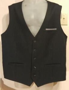 NEW KENNETH COLE Reaction Unlisted 2XLT Mens Wool Vest Waistcoat Pinstripe 50