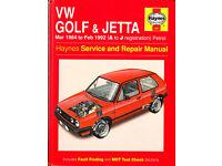 HAYNES VW GOLF & JETTA SERVICE REPAIR MANUAL 1984 - 1992 PETROL MODELS